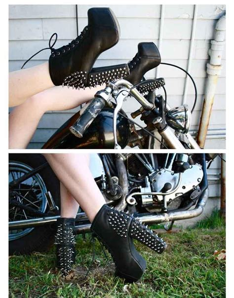 heeled motorcycle punk winter fashion womens ankle boot rivets thick