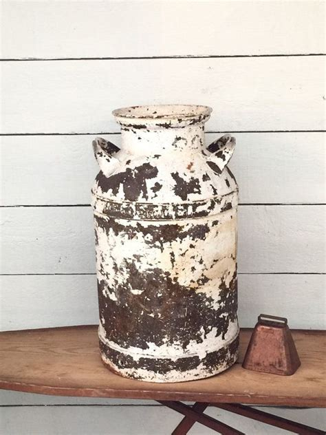 Large Antique Milk Can Metal Iron Chippy White Paint Rust