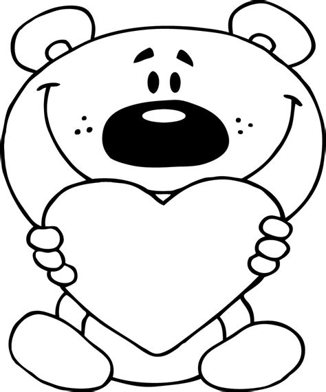 cute love coloring page  teddy bear holding red heart
