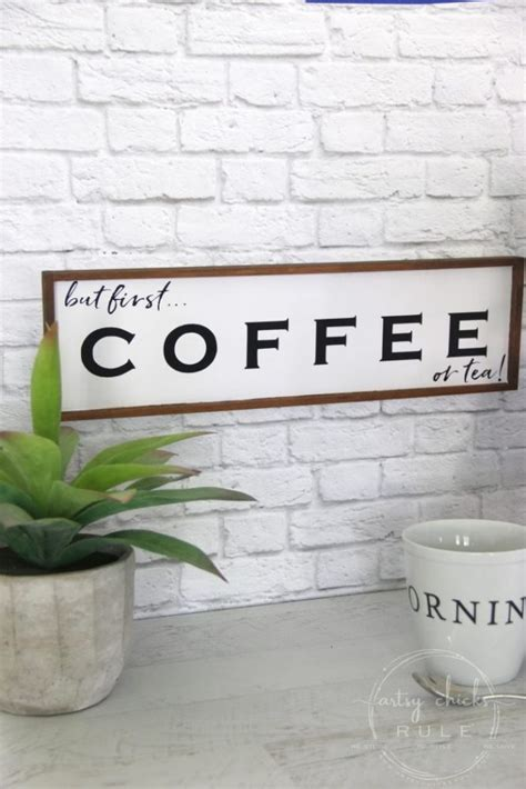 Cute poster with the text 'but first coffee'. But First Coffee Sign (and free printable!) - Artsy Chicks Rule®