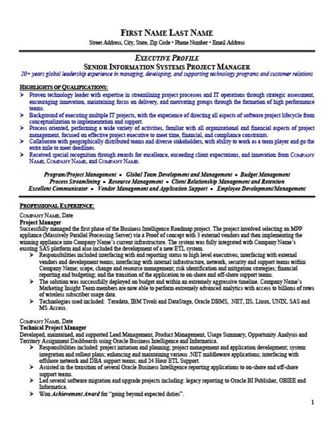 senior management resume exles senior project manager resume template premium resume sles exle