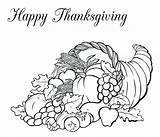 Thanksgiving Coloring Basket Fruit Horn Plenty Canada Pages Feast Drawing Happy Colouring Packed Turkey Baskets Pointillism Dinner Template Print Pumpkin sketch template
