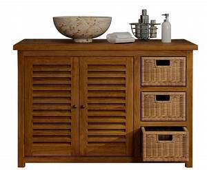 achat vente meuble salle de bain lombok 110 teck With meuble bain teck