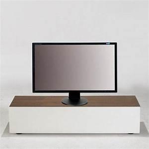 Meuble Tv Banc : quadran meuble tv design blanc avec plateau bois et coffre de rangements ~ Teatrodelosmanantiales.com Idées de Décoration