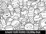 Coloring Printable Doodle Foods Kawaii Adults sketch template