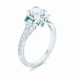 custom aquamarine and diamond engagement ring 102862 With aquamarine diamond wedding ring