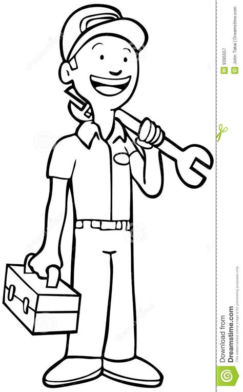 fix clipart black and white mechanic black and white stock vector illustration of