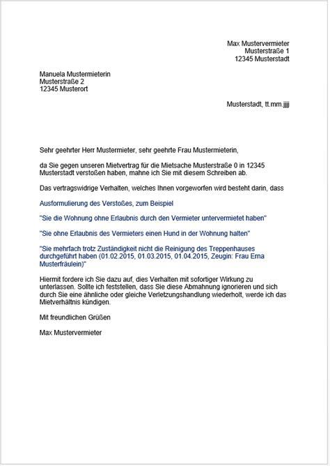 Wie Kann Mieter Kündigen by Abmahnung Mieter Tipps F 252 R Vermieter Immoverkauf24 De