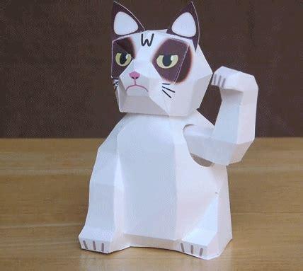 grumpy cat papier winkekatze zum selberbasteln