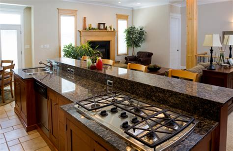 small kitchen counter ls two different levels of granite used two different