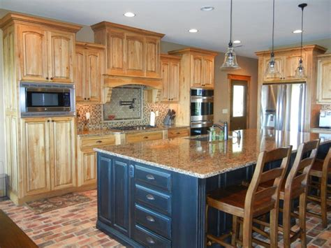 hickory kitchen island hickory cabinets with black island
