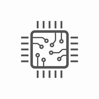 Chip Icon Vector Cpu Computer Minimal Microchip