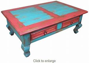 Red blue painted wood southwest coffee table for Southwestern coffee table