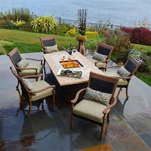 Fire pit dining set patio fire place and pits for Patio dining table with fire pit