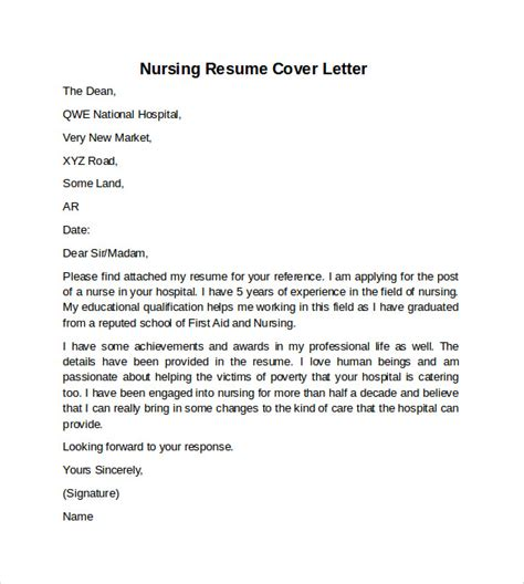 nursing cover letter     documents