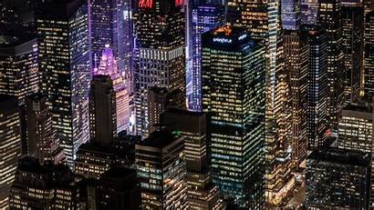 Night Lights Buildings Glow Widescreen 4k Uhd