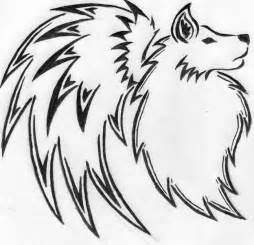Tribal Wolf with Wings Drawings