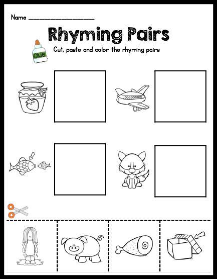 rhyming cut and paste worksheets for kindergarten keeping my kiddo busy rhyming cut paste plus a freebie