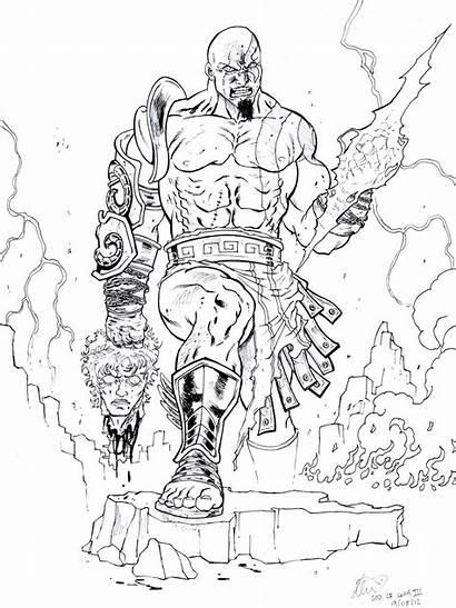 Coloring Kratos God Pages War Ares Sketch