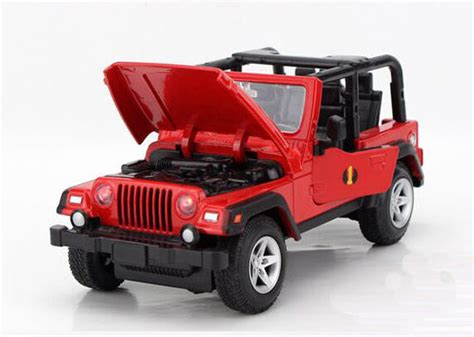 red toy jeep 1 24 scale kids red no car roof diecast jeep wrangler toy