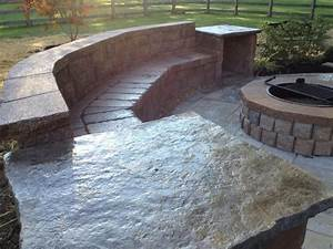 Stamped Concrete Patio With Seating Walls Cincinnati Ohio
