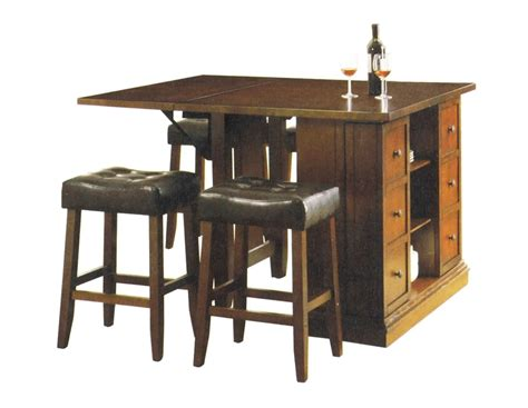 Kitchen Island Bar Height Kitchen Island Oak Finish Counter Height 3 Table Set By Acme 10234