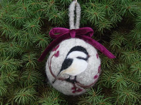 felted christmas ornament with needle punch chicadee