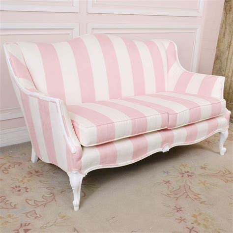 red and white sofa shabby cottage chic pink white striped micro suede