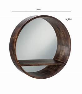 Miroir Cadre Bois : miroir rond avec tablette cadre bois marron fonc ~ Teatrodelosmanantiales.com Idées de Décoration