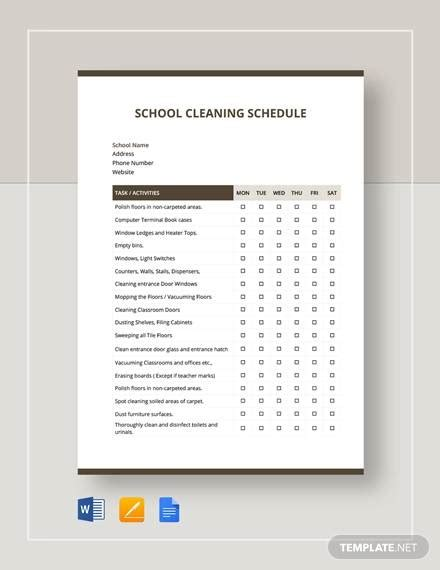 sample cleaning schedules   ms word