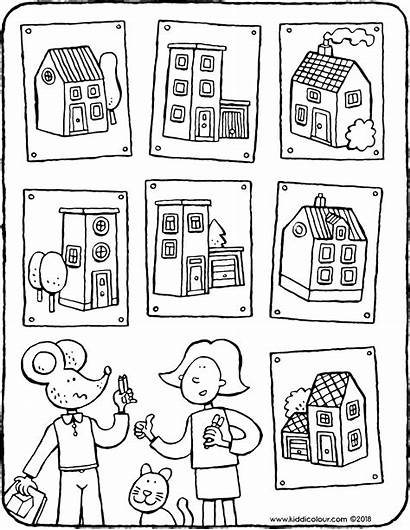 Houses Colouring Right Drawing Kiddicolour Pages