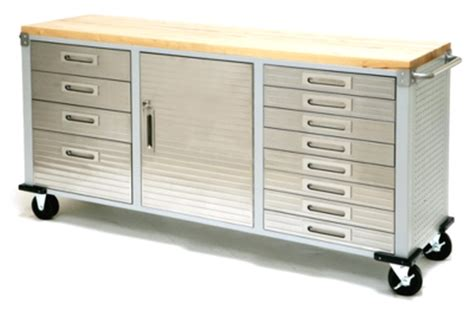 drawer tool cabinet work bench stainless steel wood