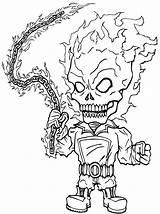 Ghost Rider Coloring Cartoon sketch template