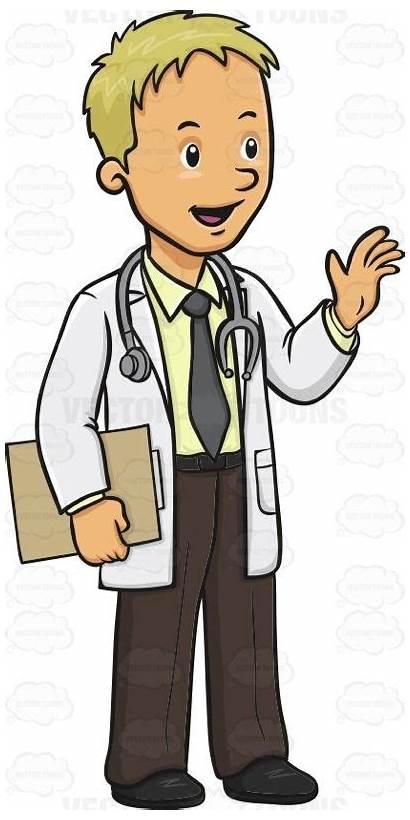 Cartoon Doctor Doctors Male Waving Hand Friendly
