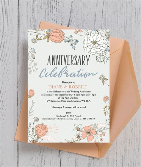 wild flowers  silver wedding anniversary invitation