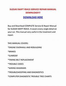 Shop Manual   Suzuki Swift Rs415 Service Repair Manual