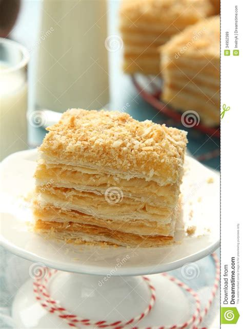 layer cake from puff pastry with custard royalty free stock images image 34952389