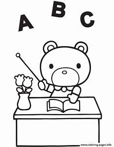 Hello Kitty Teddy Bear Teacher Coloring Pages Printable