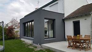 extension maison nord enduit projete lille m l39extension With delightful maison bois toit plat 16 extension de maison en bois