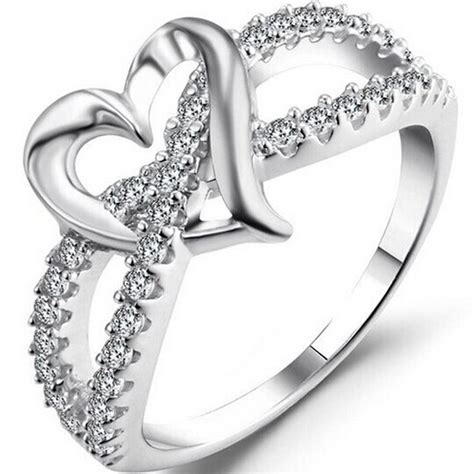size 3 12 white gold silver plated split shank heart engagement ring wedding cocktail