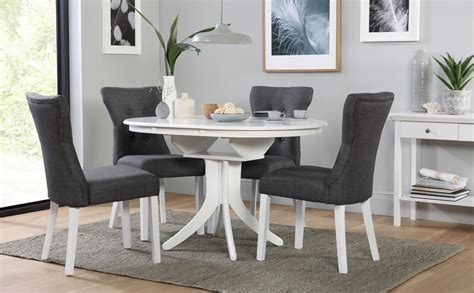 White Dining Table And Chairs For Sale by Hudson White Extending Dining Table With 6 Bewley