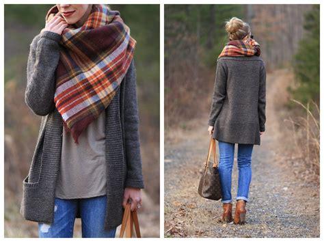 Plaid Blanket Scarf, Long Cardigan & Distressed Denim }
