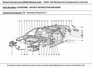 Ferrari Part Number 61485400 Lh Belt Retractor Housing