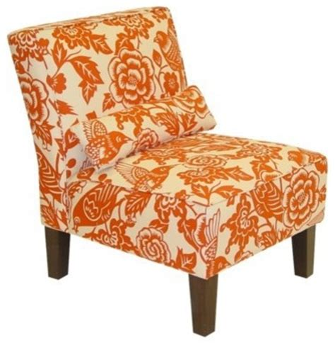 canary print slipper chair orange traditional