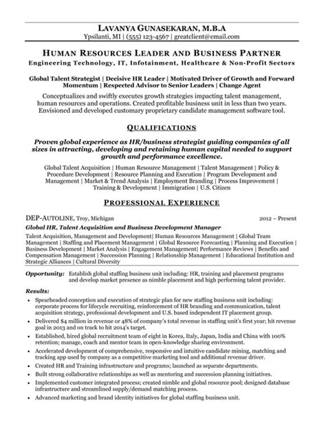 Free Sle Resume Human Resource Manager by Hr Resume Exles 100 Images Hr Resume Templates Human