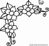 Coloring Flowers Flower Border Printable Drawing Frame Printables Borders Treehut Vine Tracing Colouring Clip Floral Outline Embroidery Clipart Patterns Sheets sketch template