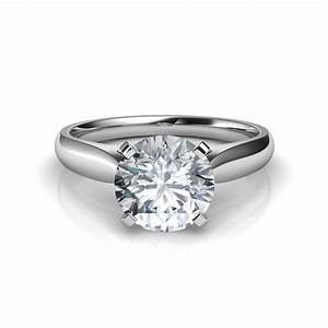 tapered cathedral engagement ring With solitaire diamond wedding rings