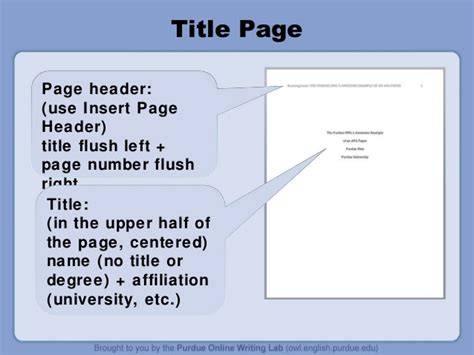 Sample apa abstract page from purdue owl. Purdue owl apa style guide
