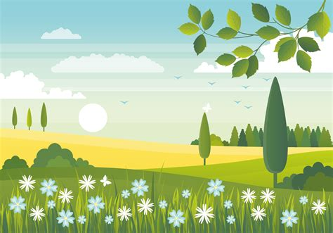 Vector Spring Landscape Design - Download Free Vectors ...