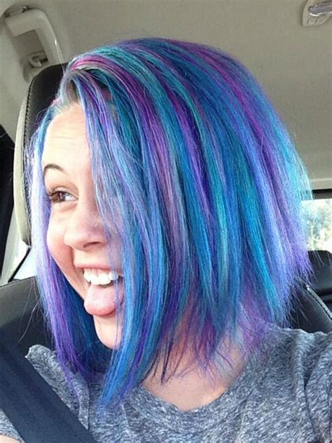 Bea Miller Straight Blue Angled Bob Hairstyle Steal Her
